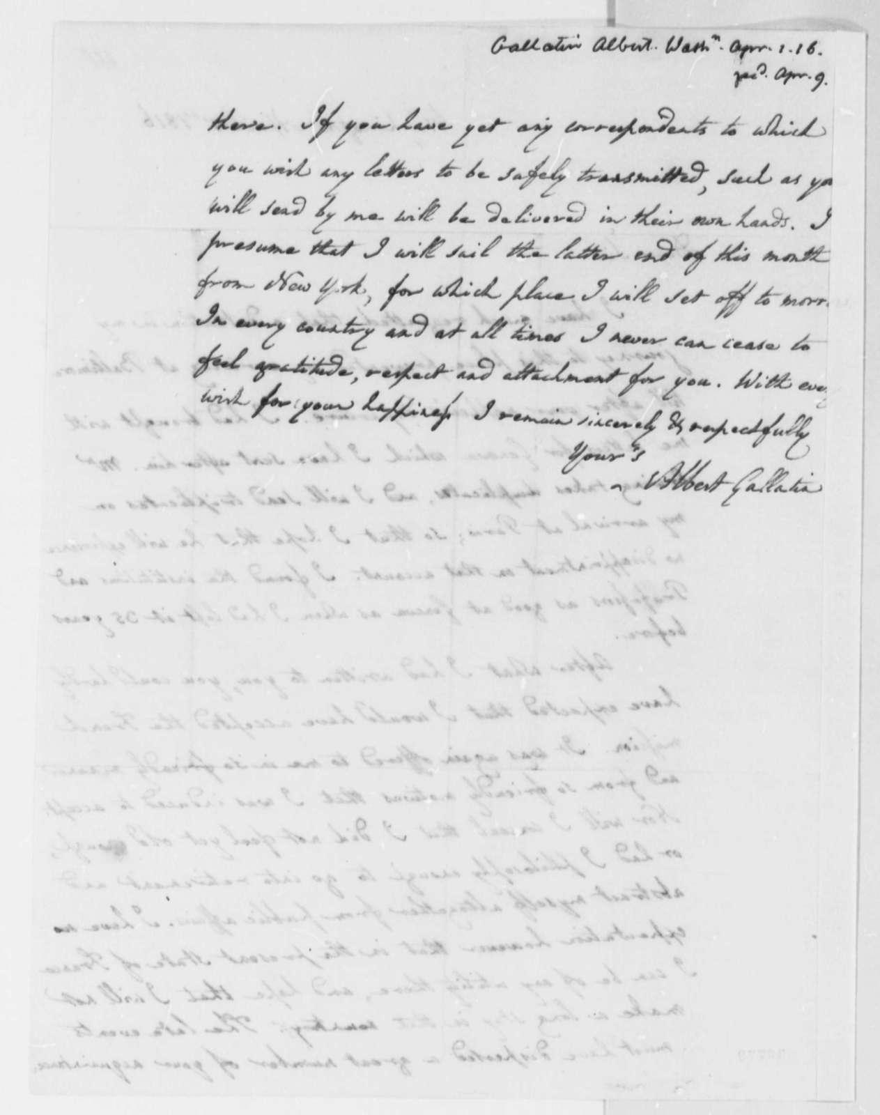 Albert Gallatin to Thomas Jefferson, April 1, 1816