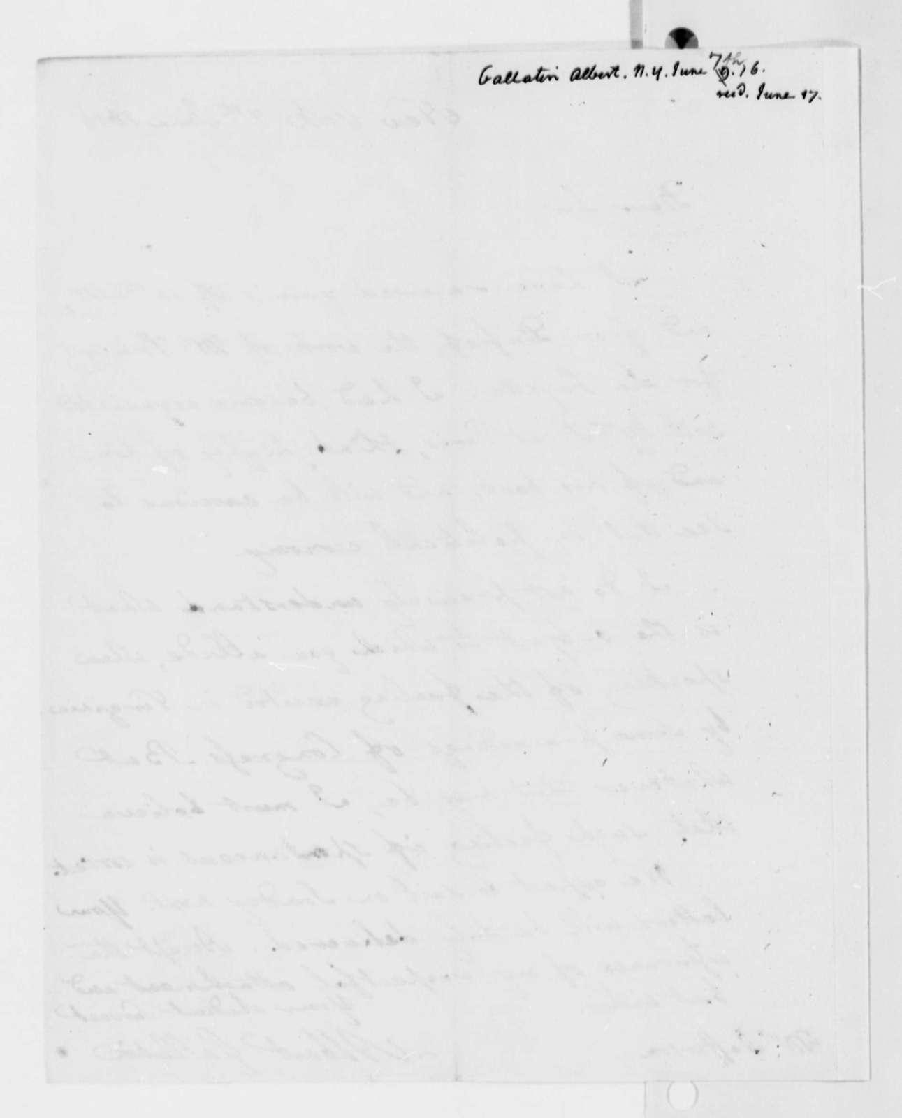 Albert Gallatin to Thomas Jefferson, June 7, 1816