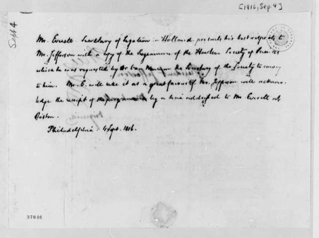 Alexander Everett to Thomas Jefferson, September 4, 1816, with Pamphlet Copy