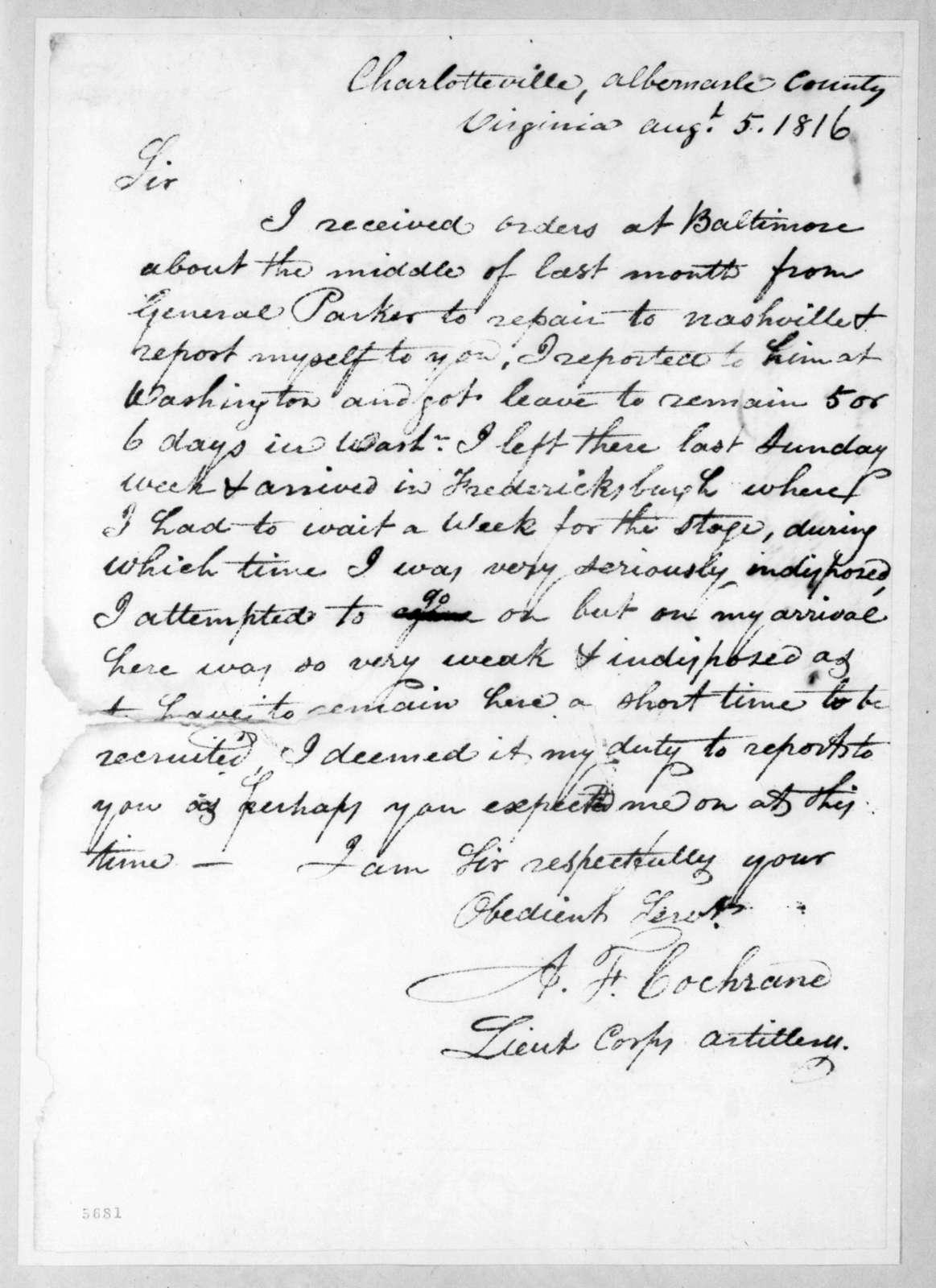 Alexander Fulton Cochrane to Andrew Jackson, August 5, 1816