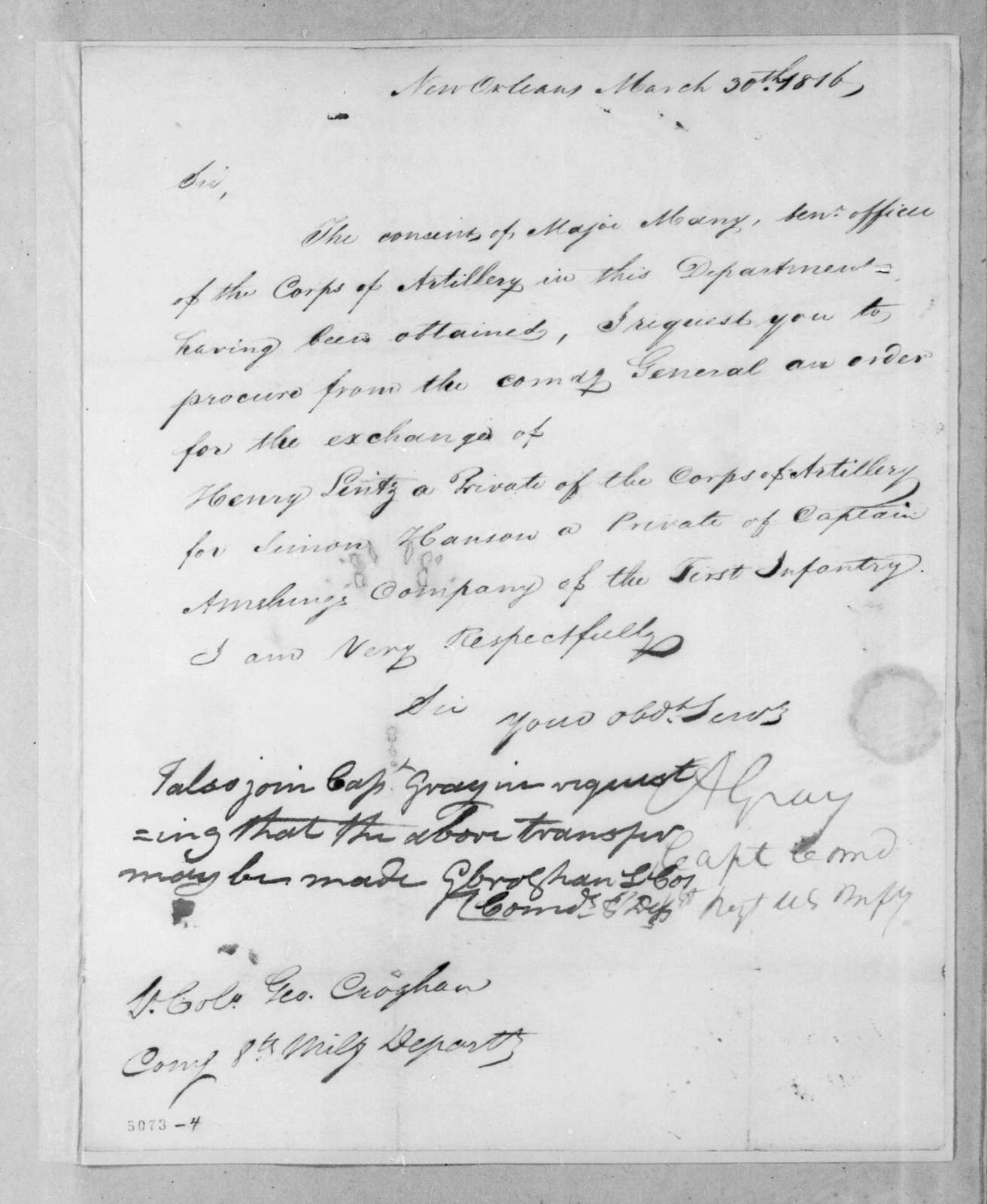 Alexander Gray to George Croghan, March 30, 1816