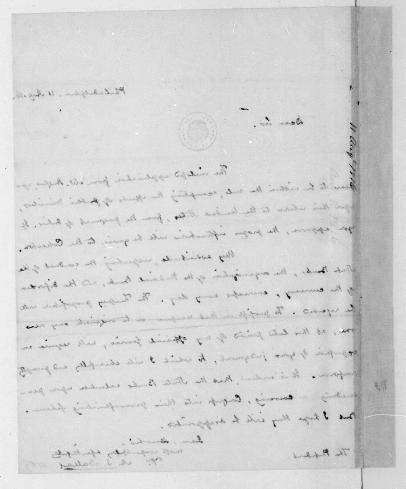 Alexander J. Dallas to James Madison, August 11, 1816.