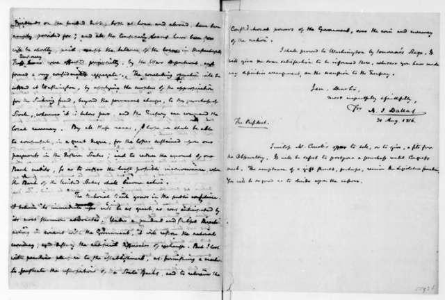 Alexander J. Dallas to James Madison, August 31, 1816.