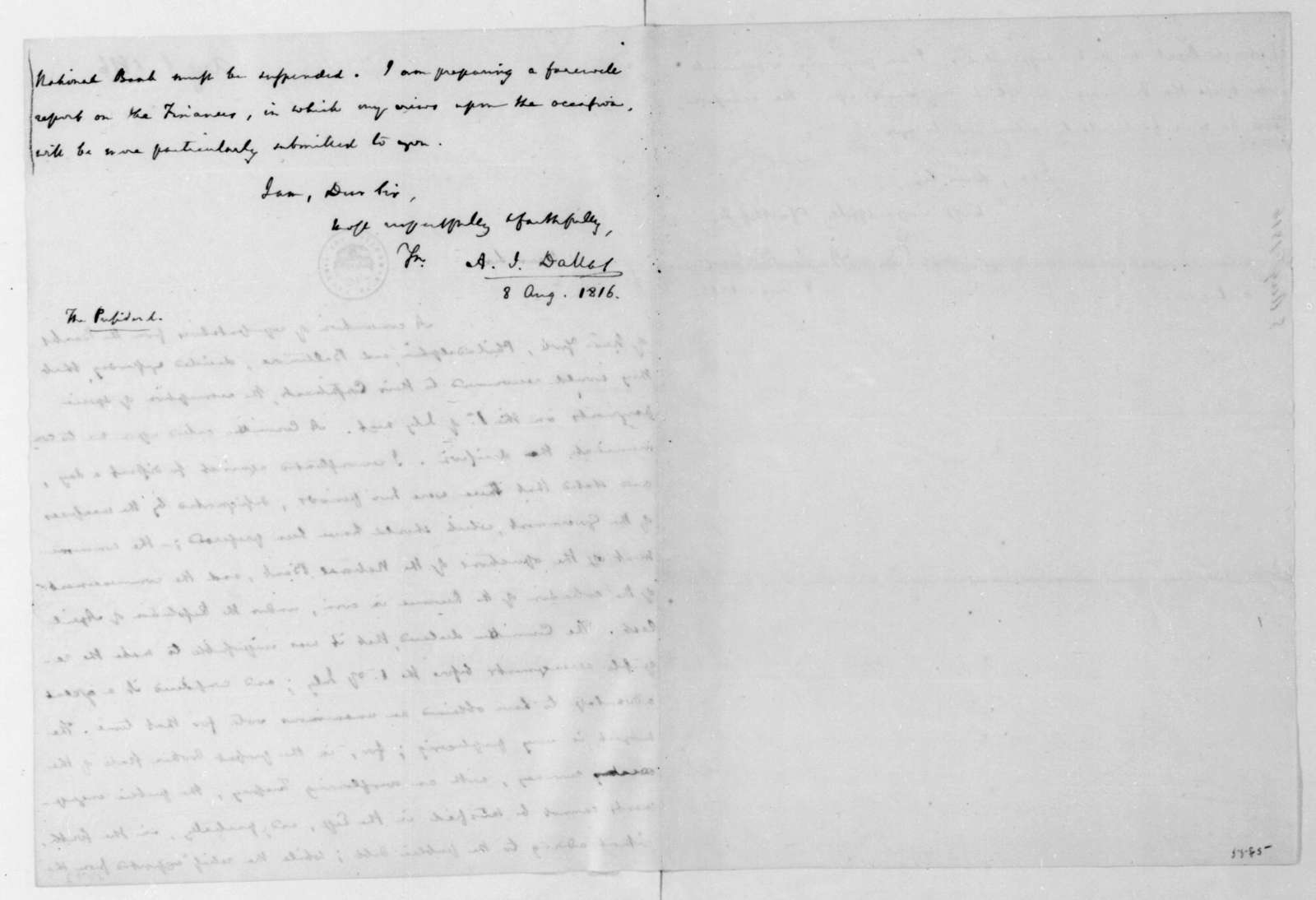 Alexander J. Dallas to James Madison, August 8, 1816.