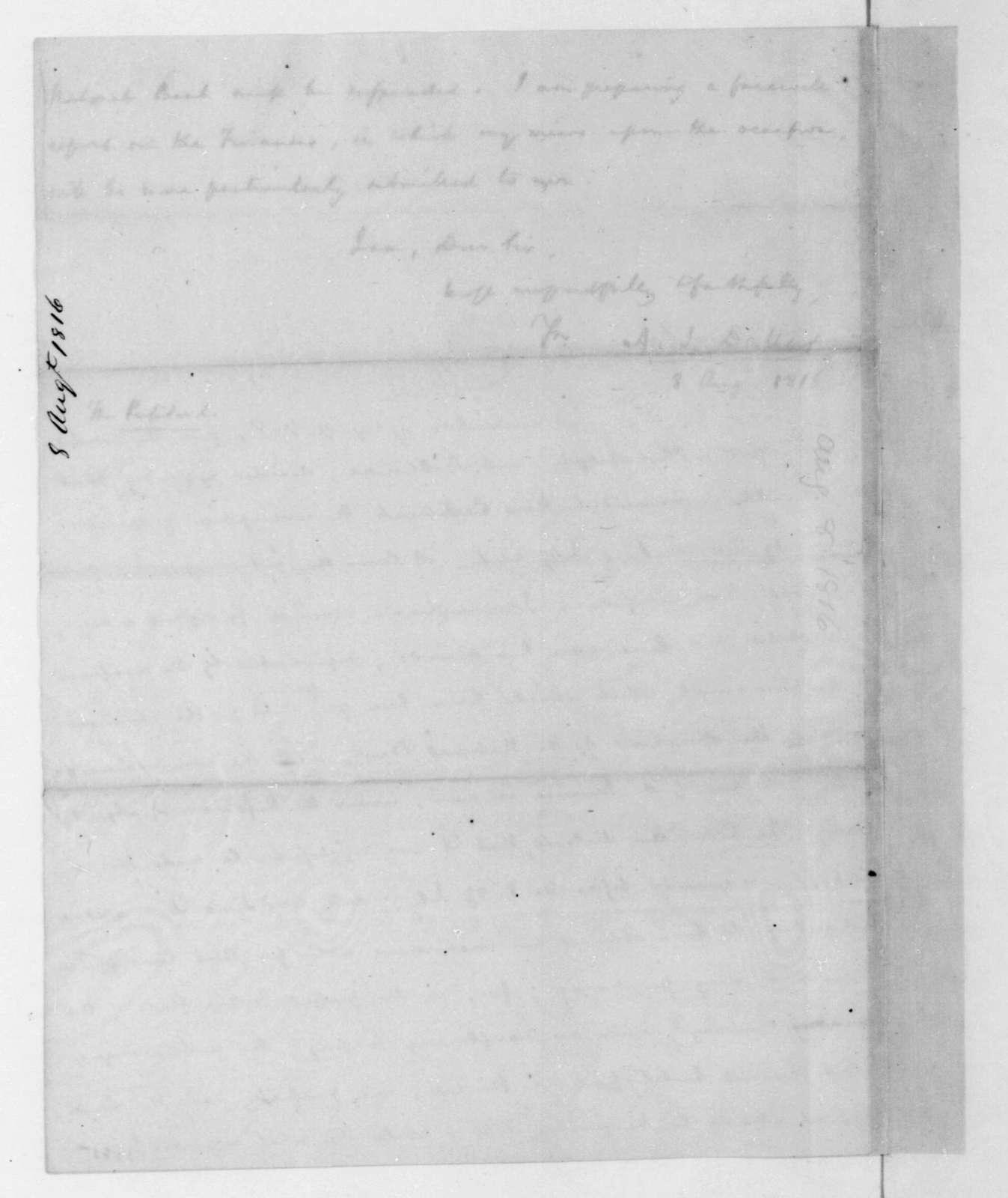 Alexander J. Dallas to James Madison, August 8, 1816.