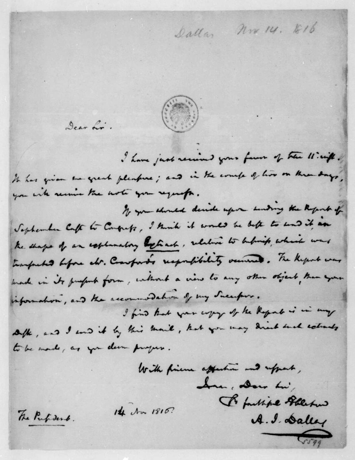 Alexander J. Dallas to James Madison, November 14, 1816.