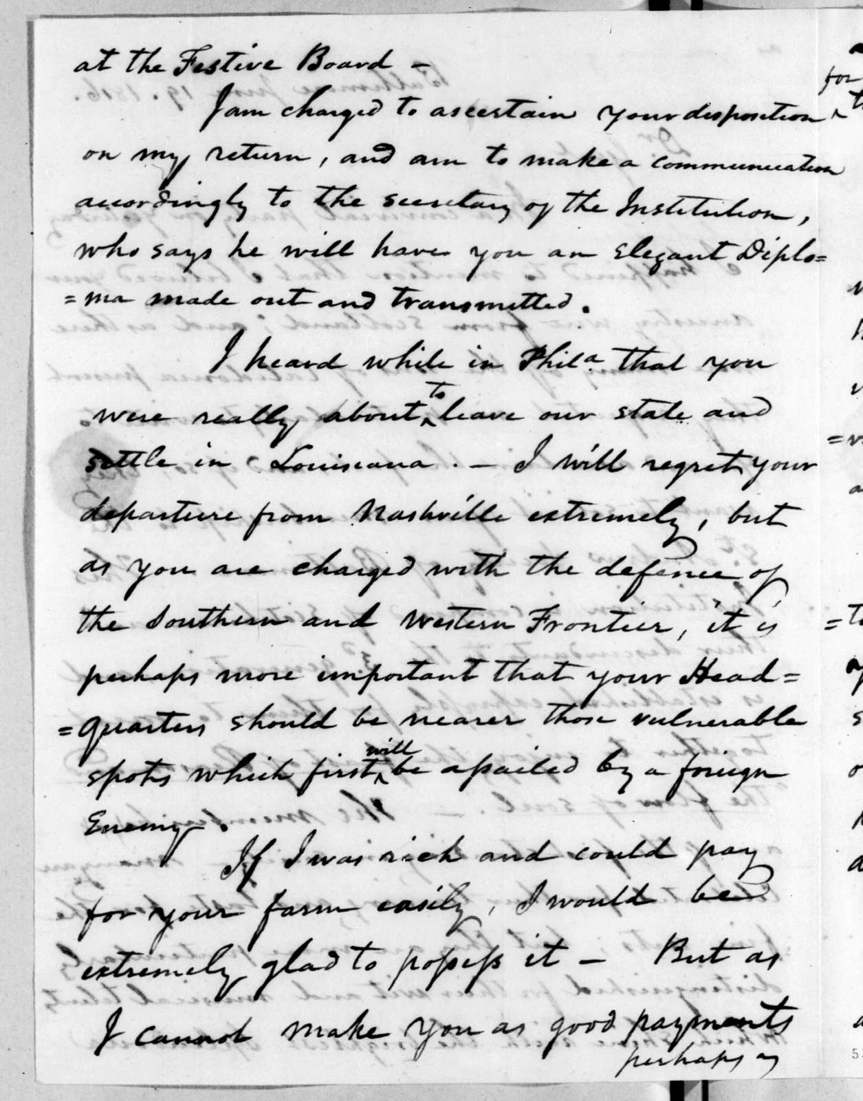 Andrew Hynes to Andrew Jackson, June 19, 1816