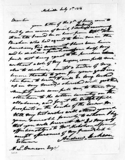 Andrew Jackson to Abner Lawson Duncan, July 9, 1816