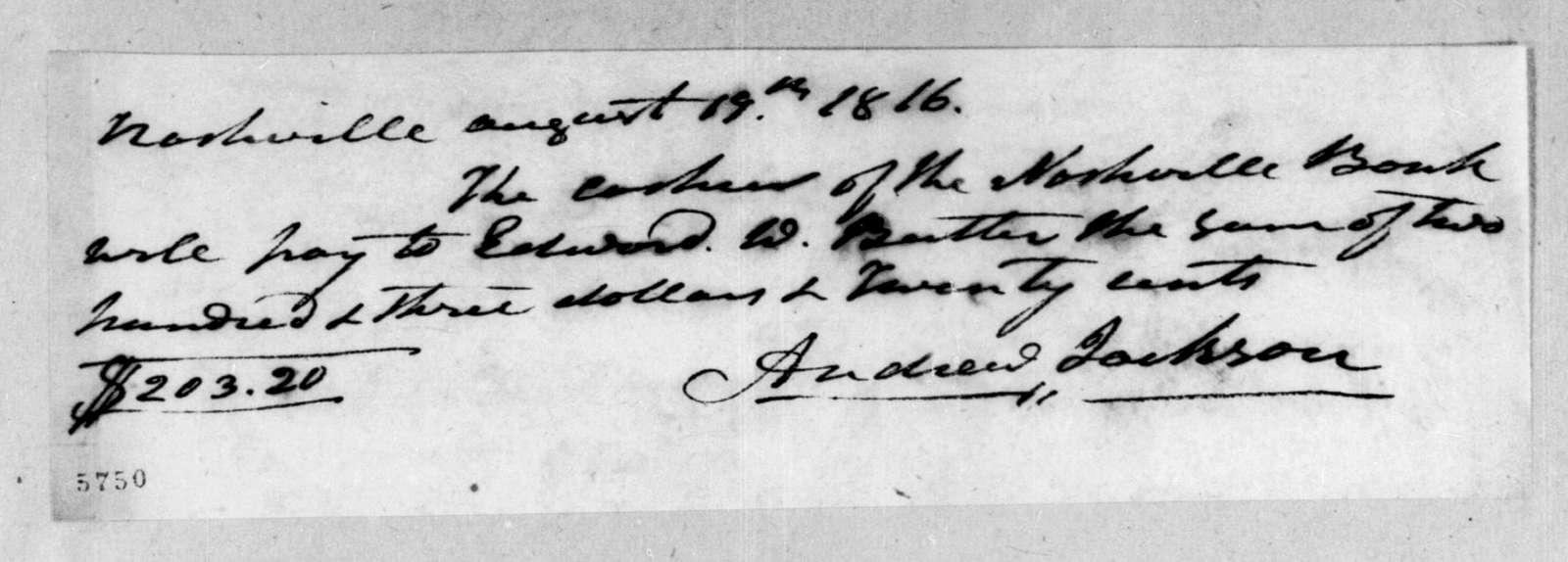 Andrew Jackson to Edward George Washington Butler, August 19, 1816