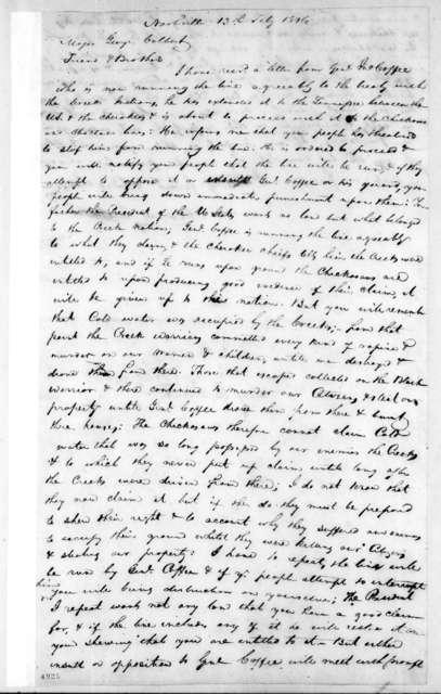 Andrew Jackson to George Colbert, February 13, 1816
