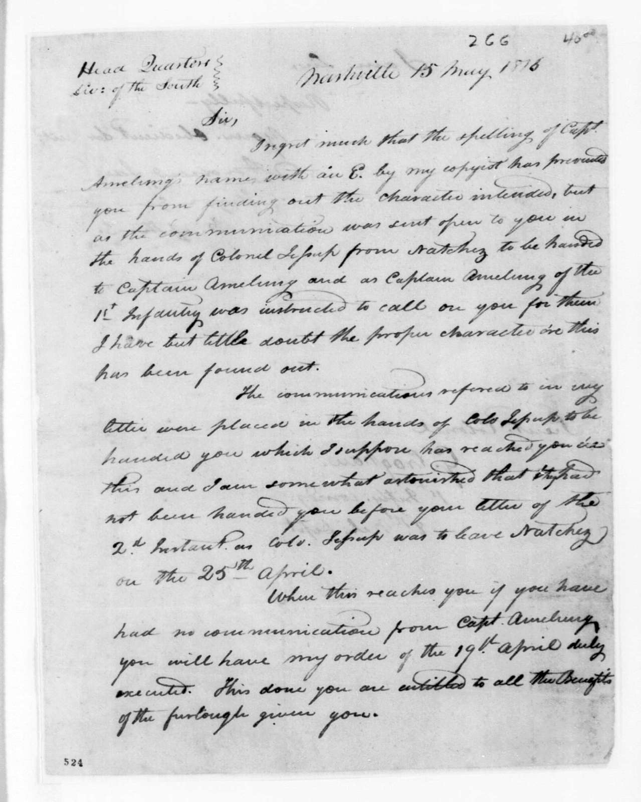 Andrew Jackson to George Croghan, May 15, 1816