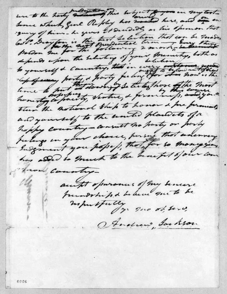 Andrew Jackson to James Monroe, November 12, 1816