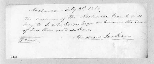 Andrew Jackson to Jenkin Whiteside, July 8, 1816