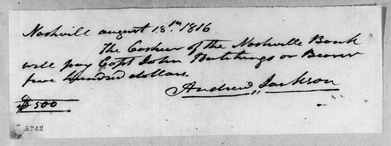 Andrew Jackson to John Hutchings, August 18, 1816