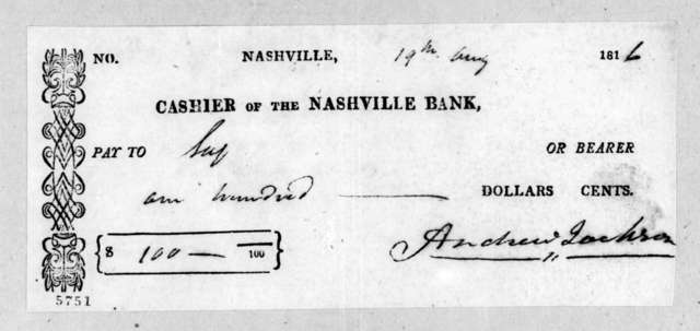 Andrew Jackson to Nashville Bank, August 19, 1816