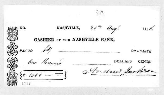 Andrew Jackson to Nashville Bank, August 20, 1816