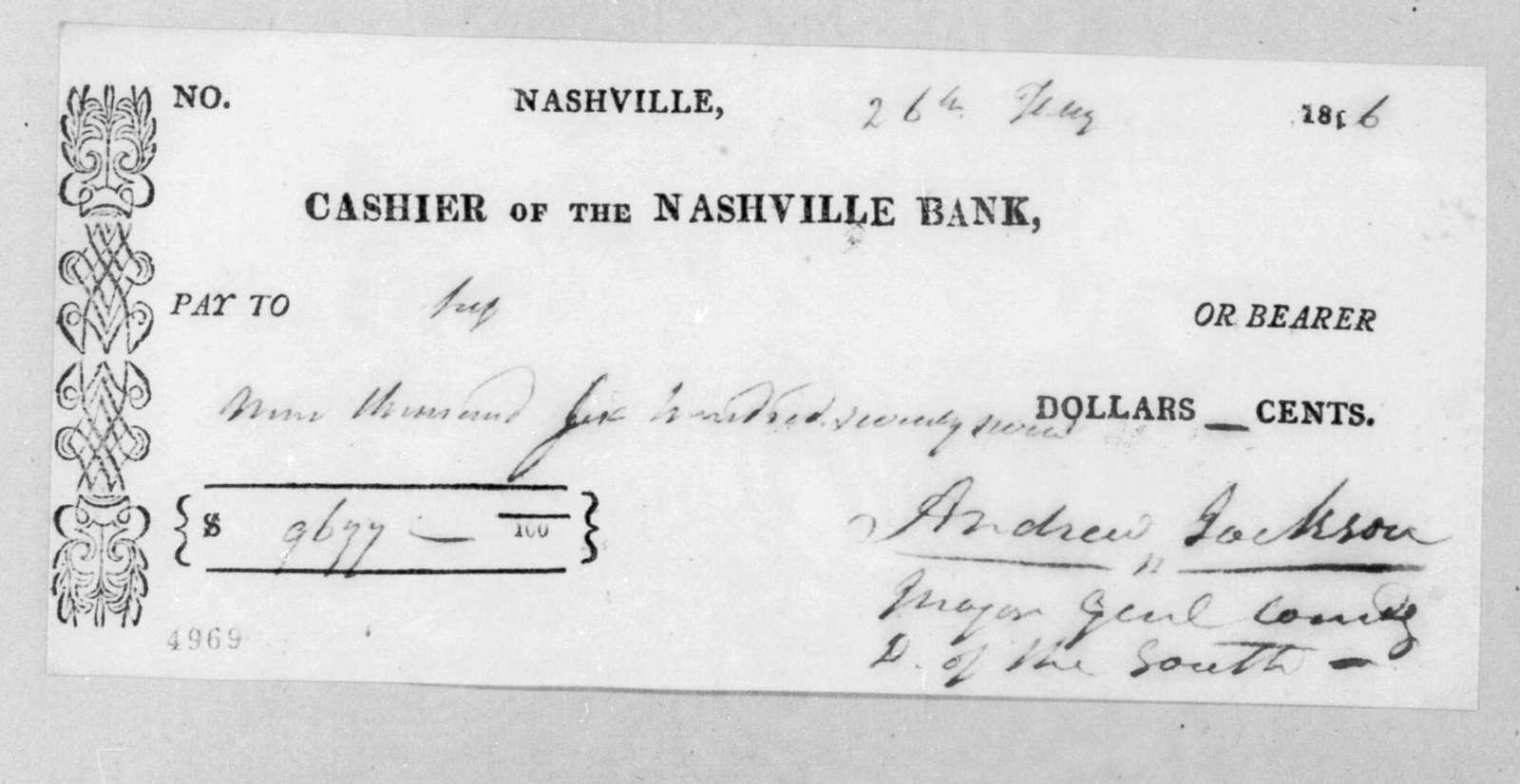 Andrew Jackson to Nashville Bank, February 26, 1816