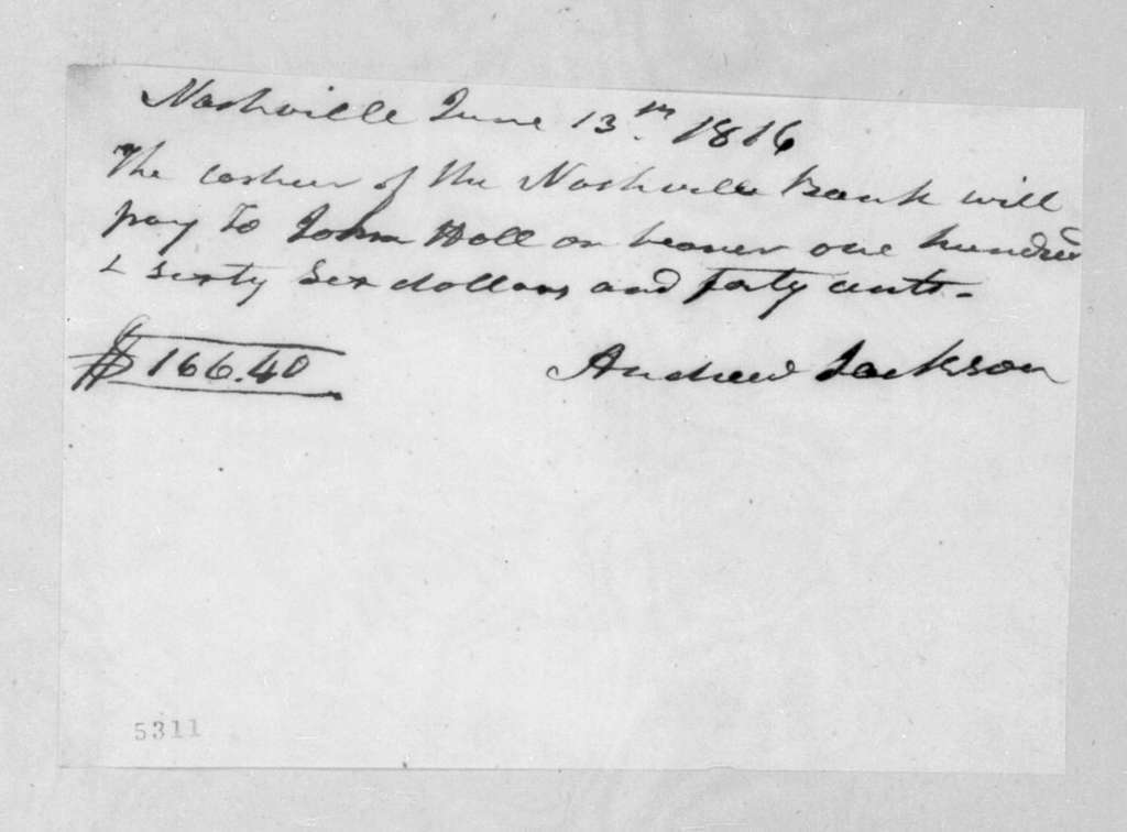 Andrew Jackson to Nashville Bank, June 13, 1816