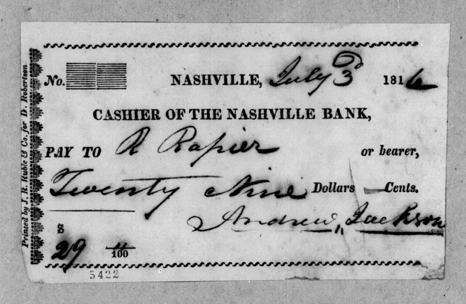 Andrew Jackson to Richard Rapier, July 3, 1816