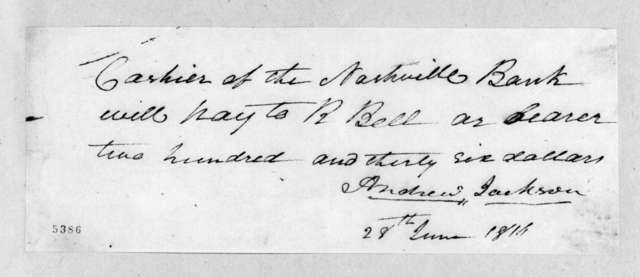 Andrew Jackson to Robert Bell, June 28, 1816