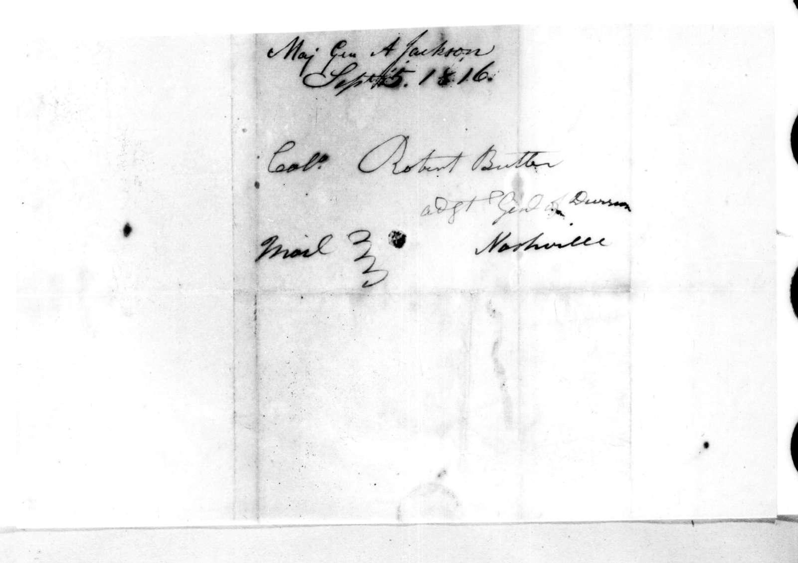 Andrew Jackson to Robert Butler, September 5, 1816