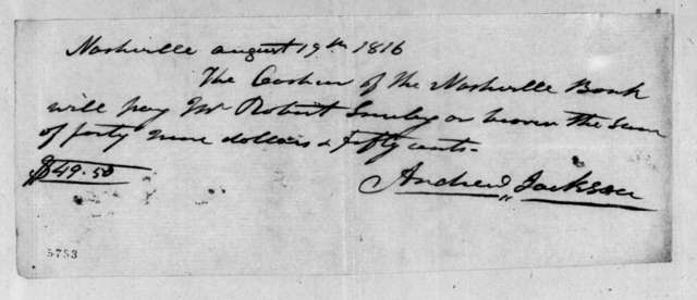 Andrew Jackson to Robert Smiley, August 19, 1816