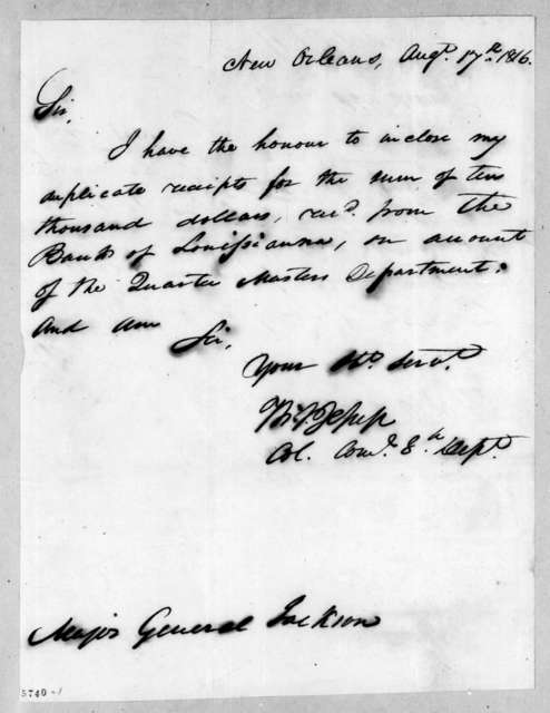 Andrew Jackson to Thomas Sidney Jesup, August 17, 1816