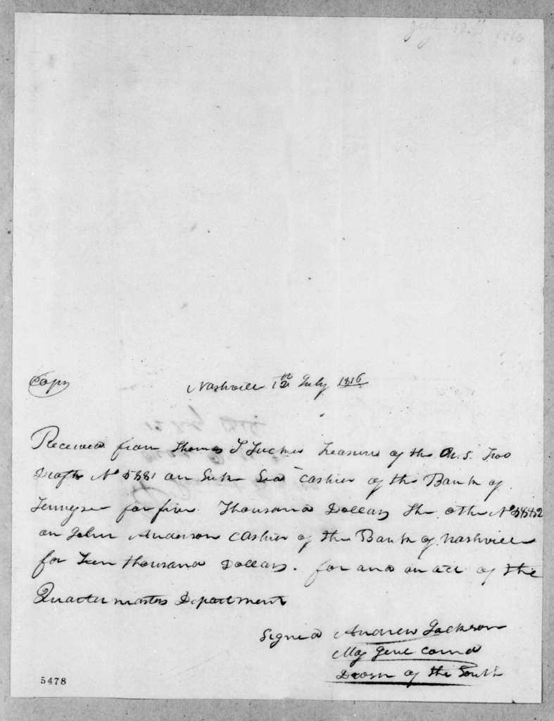 Andrew Jackson to Thomas Tudor Tucker, July 12, 1816