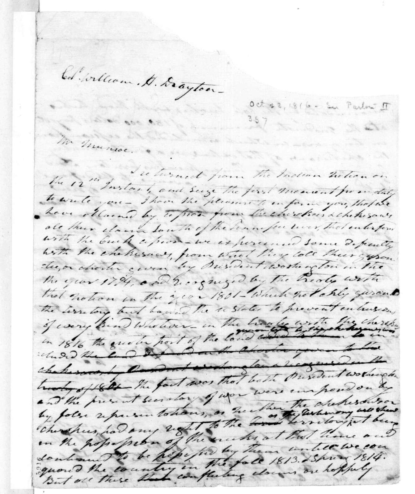 Andrew Jackson to William H. Drayton, October 23, 1816