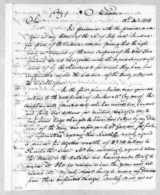 Andrew Jackson to William Harris Crawford, November 12, 1816
