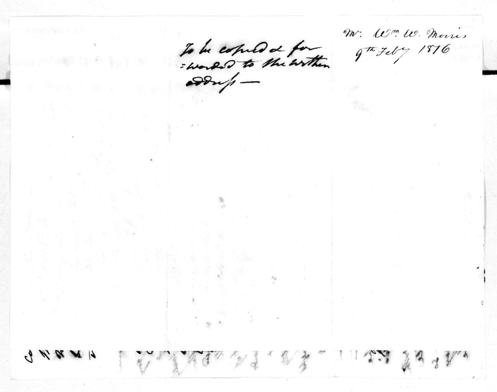 Andrew Jackson to William W. Morris, February 9, 1816