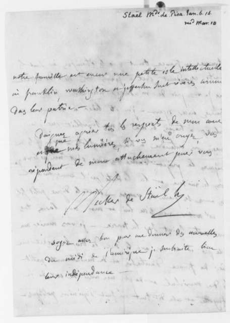 Anne L. G. N. Stael-Holstein to Thomas Jefferson, January 6, 1816