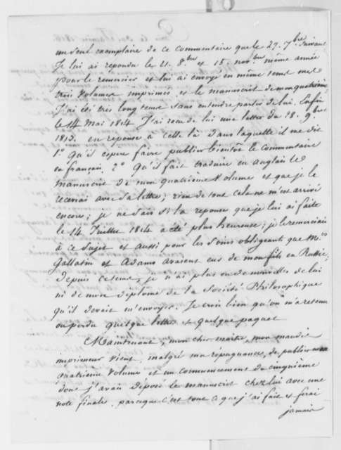 Antoine Louis Claude Destutt de Tracy to Pierre S. Dupont de Nemours, January 30, 1816, in French
