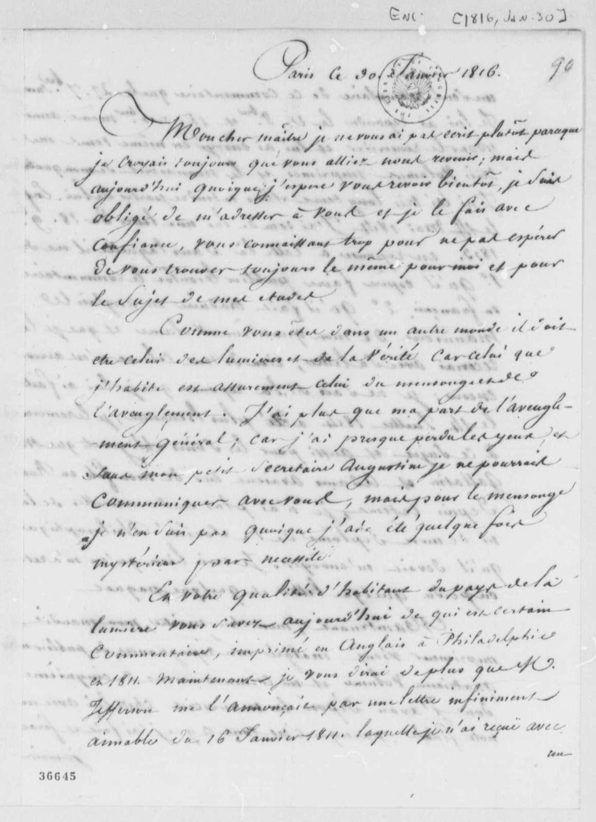 Antoine Louis Claude Destutt de Tracy to Pierre S. Dupont de Nemours, January 30, 1816, in French