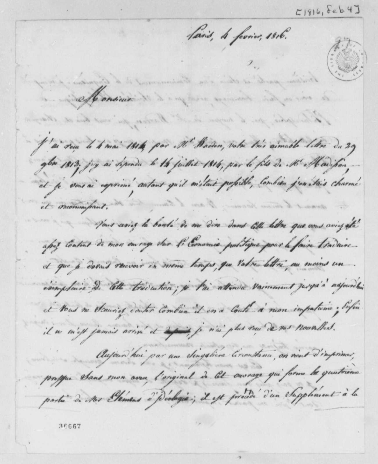Antoine Louis Claude Destutt de Tracy to Thomas Jefferson, February 4, 1816, in French