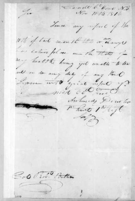 Archimedes Donoho to Robert Butler, November 10, 1816