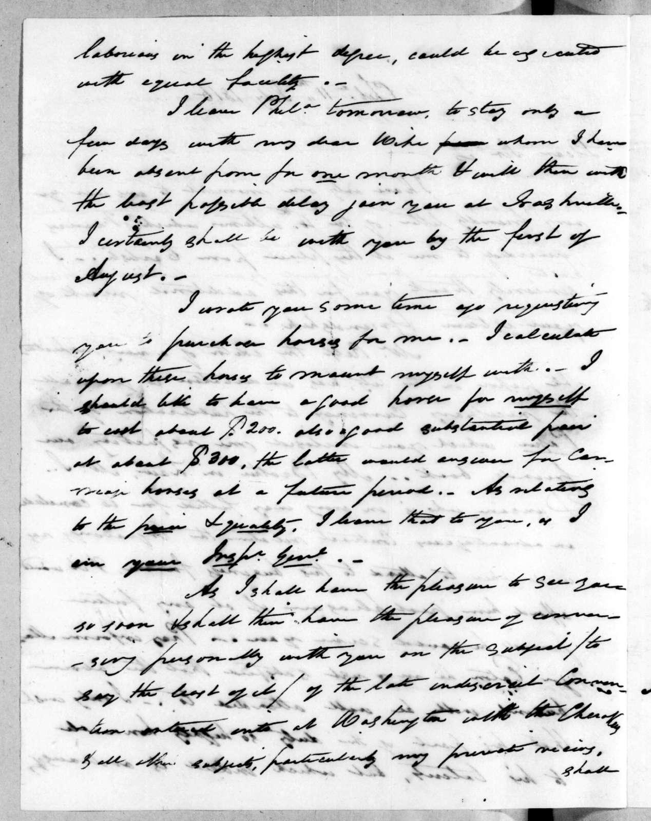 Arthur Peronneau Hayne to Andrew Jackson, July 11, 1816