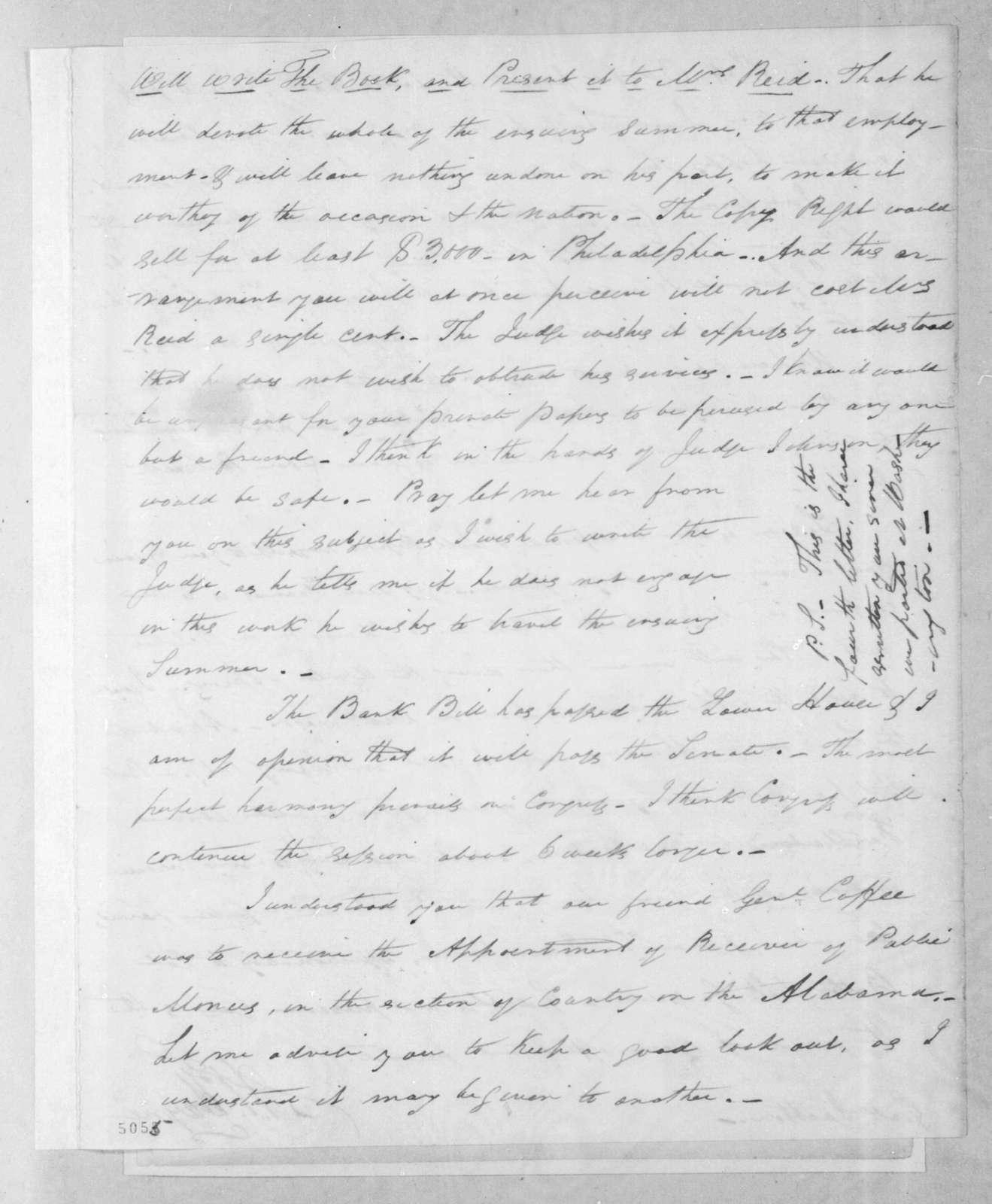 Arthur Peronneau Hayne to Andrew Jackson, March 27, 1816