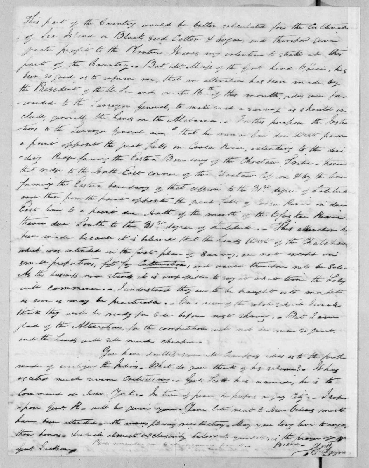 Arthur Peronneau Hayne to Andrew Jackson, May 31, 1816
