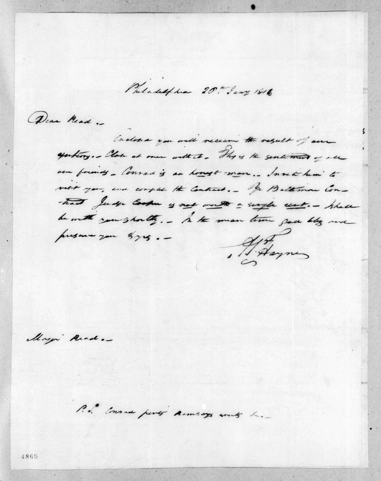 Arthur Peronneau Hayne to John Reid, January 26, 1816