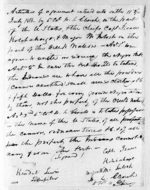 Articles of agreement between The United States of America and the Chiefs of the Creek Nation. July 18, 1816