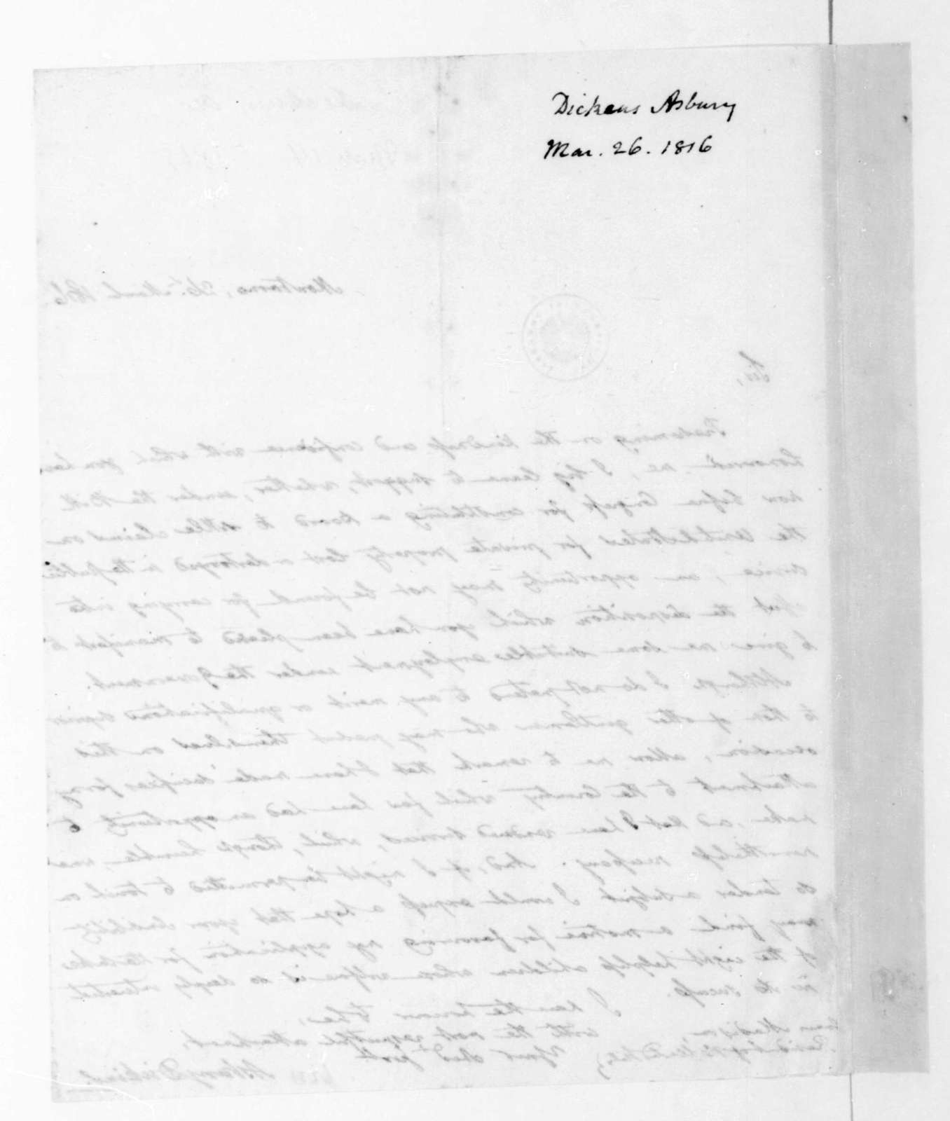 Asbury Dickins to James Madison, March 26, 1816.