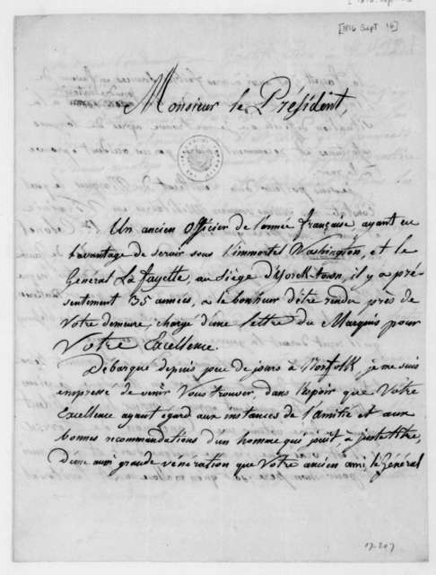 Baron de Montlezun-Labarthette to James Madison, September 16, 1816. In French.