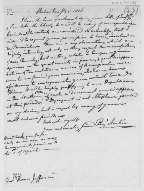 Benjamin Austin to Thomas Jefferson, January 25, 1816