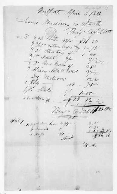 Benjamin Aydelott to James Madison, April 5, 1816. Account.