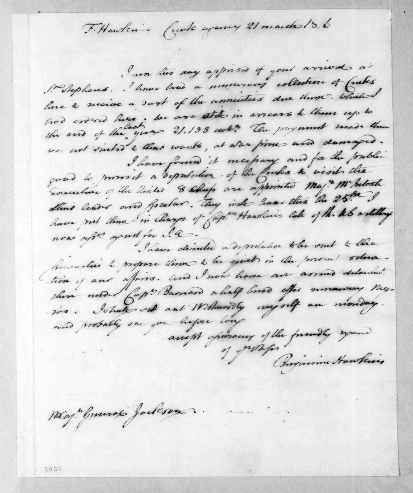Benjamin Hawkins to Andrew Jackson, March 21, 1816