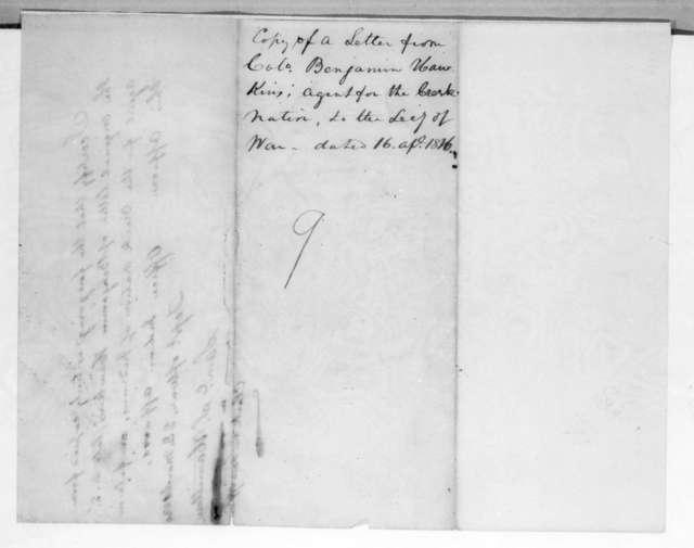 Benjamin Hawkins to William White Crawford, April 16, 1816