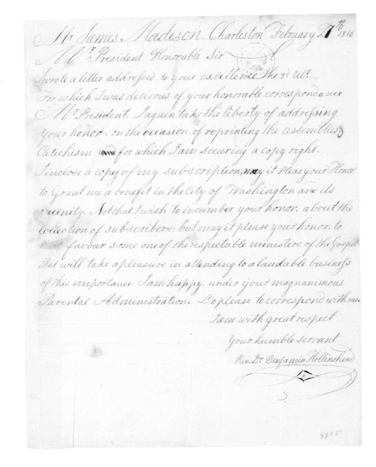 Benjamin Hollinshead to James Madison, February 27, 1816.