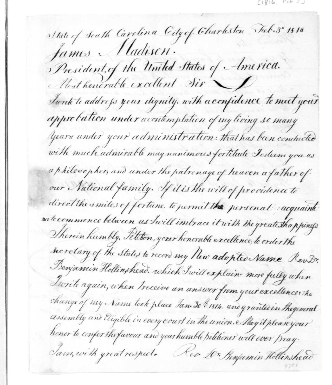 Benjamin Hollinshead to James Madison, February 3, 1816.