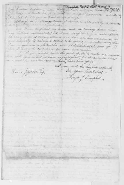 Benjamin J. Campbell to Thomas Jefferson, March 15, 1816